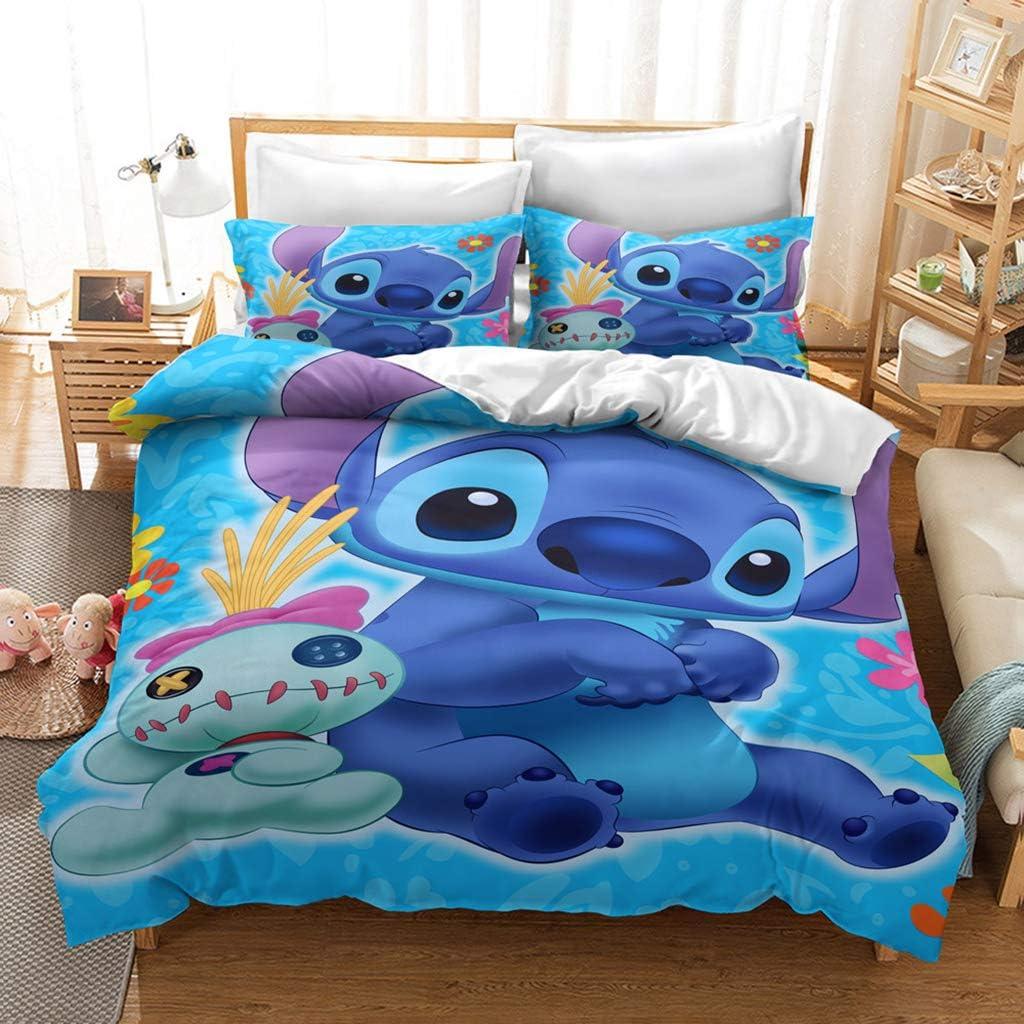 Motif Anime Lilo et Stitch 100/% Microfibre a01,135x200cm Parure de lit pour Enfant Character World Anime avec Housse de Couette et taie doreiller SSLLC Lilo /& Stitch Housse de Couette