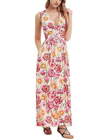 6623cb5cbce Amazon.com  Perfashion Women s Maxi Summer V Neck Floral Beach ...