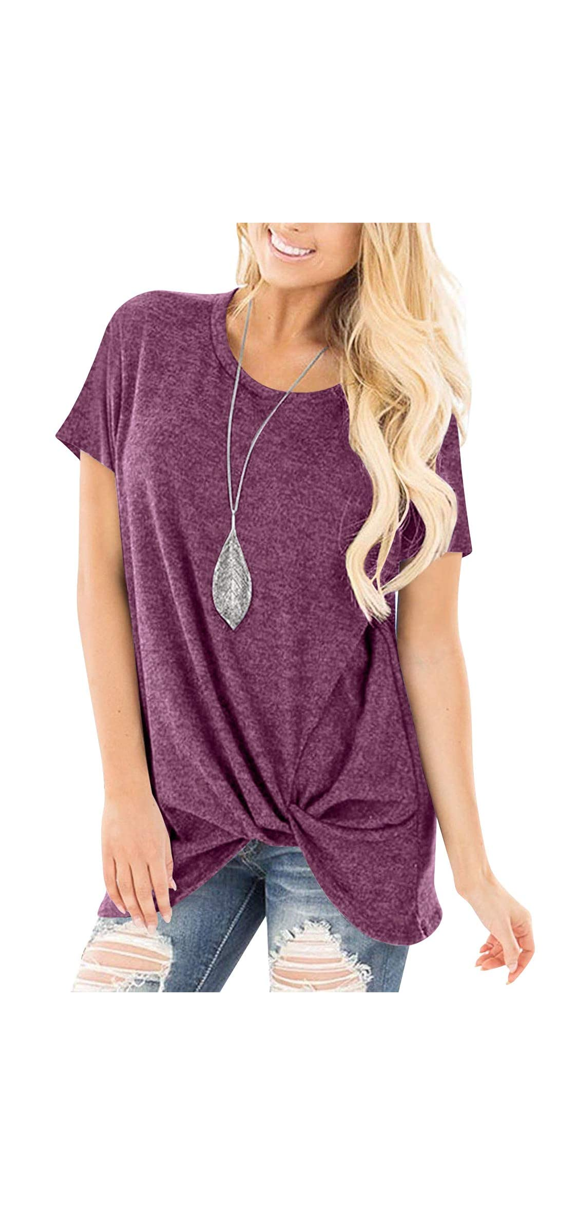 Women's Comfy Casual Long Sleeve Side Twist Knotted T