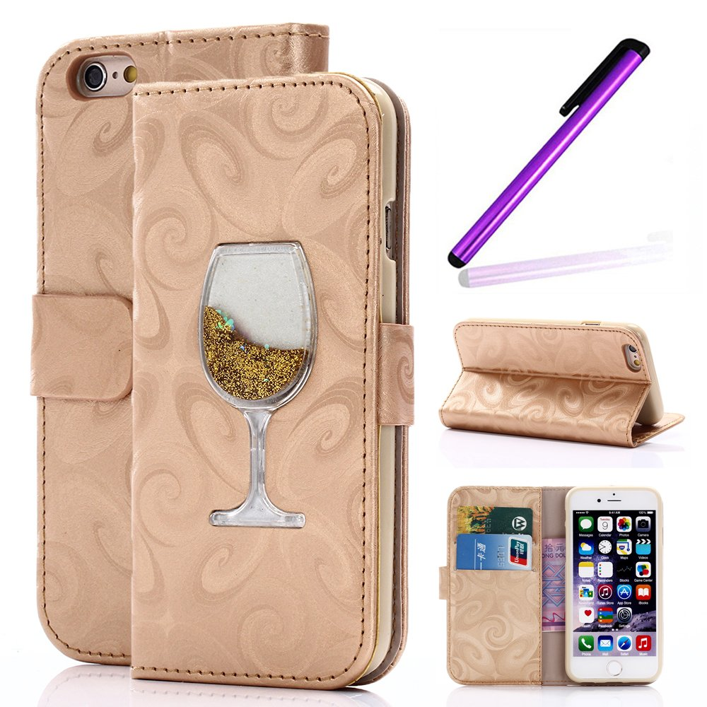 Magnetic Closure Wallet Case with Glitter Wine Glass for iPhone 6/6S Plus Tan