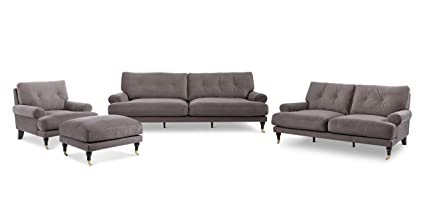 Stitch & Time Maverick Fabric Sofa Group Collection, 4pc, Grey