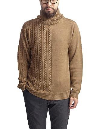 804948cc7dd Amazon | LAOTOUR ロートル 天竺&ケーブル編み 切り替え タートルネックニット メンズ | セーター 通販