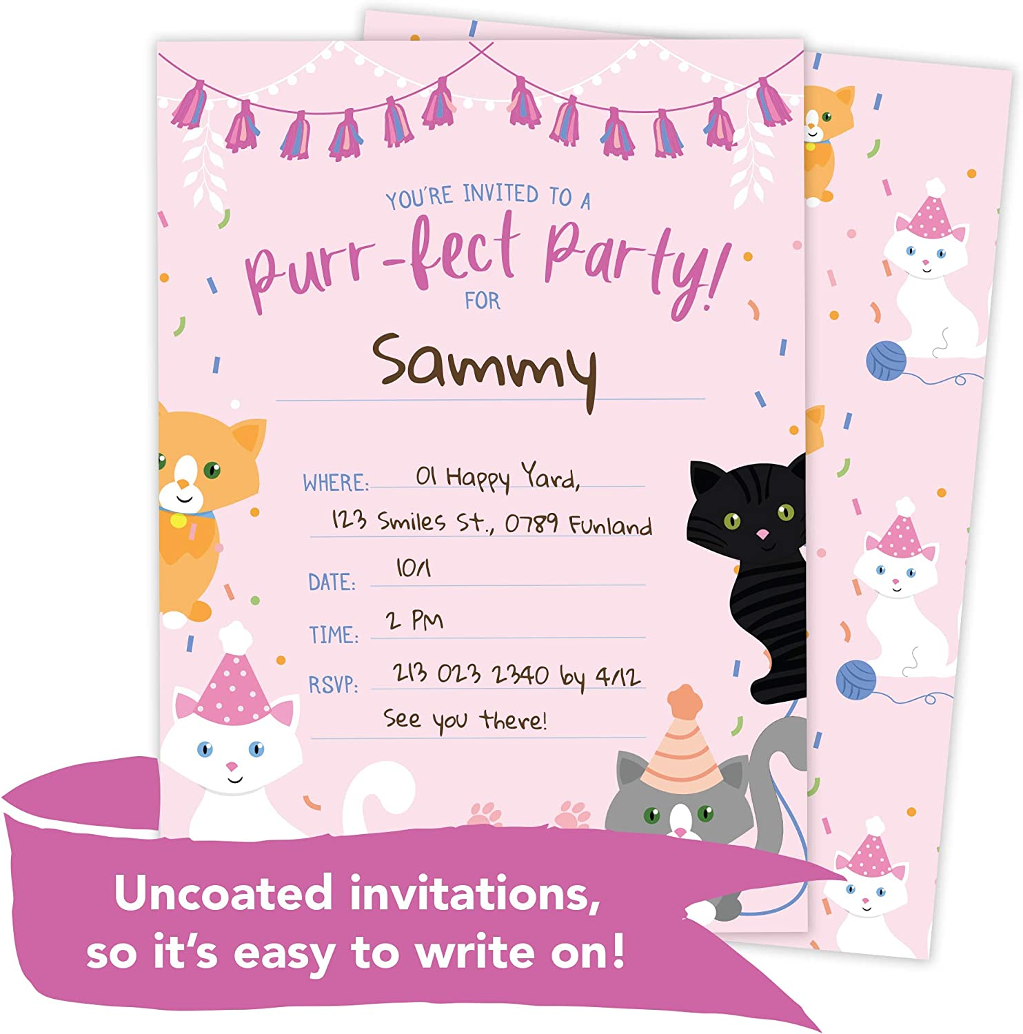Pack of 24 Kitty Cat Party Invitations