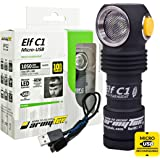 ArmyTek Elf C1 Micro-USB Rechargeable 1050 Lumens Magnetic Tailcap Multi-Use Headlamp and LumenTac USB Cable