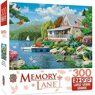 MasterPieces Memory Lane Lakeside Memories Cabin Lake Large EZ Grip Jigsaw Puzzle by Alan Giana, 300-Piece: Toys & Games