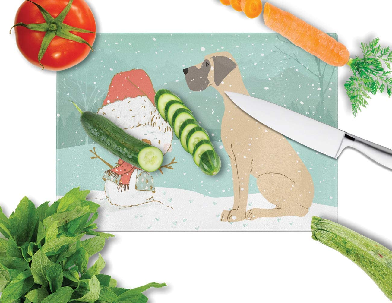 multicolor 12H x 16W Carolines Treasures CK2041LCB Cropped Fawn Great Dane Snowman Christmas Glass Cutting Board Large