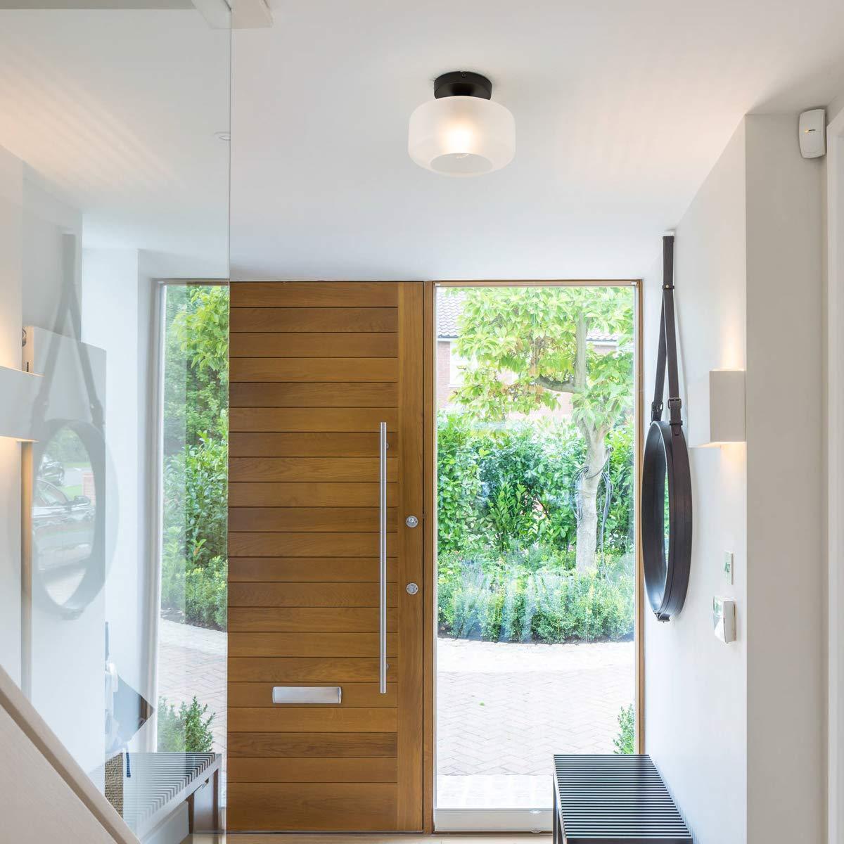 Texture Clear Glass Shade Semi Flush Mount for Hallway,Entryway,Foyer,Bedroom TeHenoo Industrial Flush Mount Ceiling Light Bar Corridor,Passway Cafe