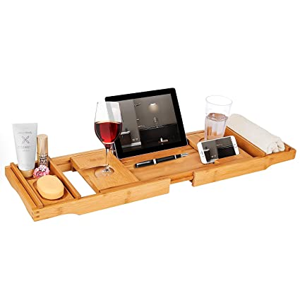 Amazon.com: Infurnise Bamboo Bathtub Tray Caddy Bath Table with ...