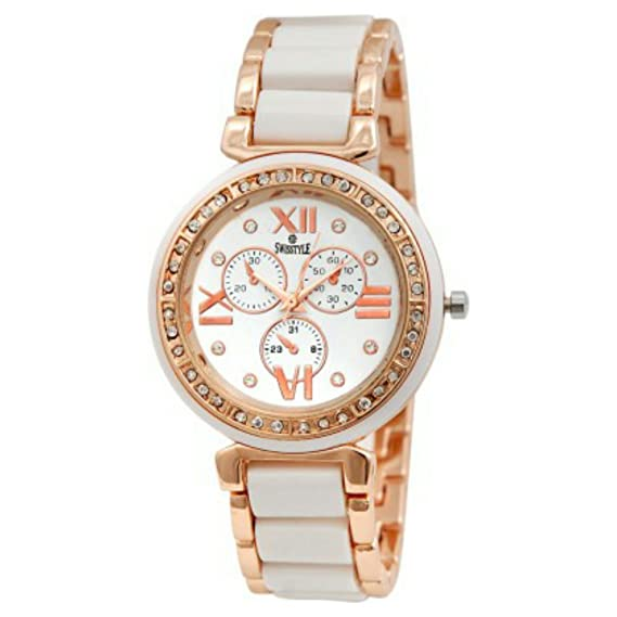680f6e7699a Buy Swisstyle Analogue White Dial Womens Watch-Ss-Lr703-Wht-Ch Online at Low  Prices in India - Amazon.in