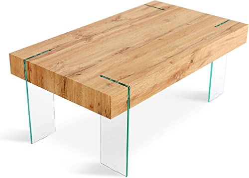 Mcombo Glass Coffee Table with Tempered Glass Legs Wood Top Modern Home Office Living Room Furniture,Rectangular Coffee Table End Table Tea Table,3.9 Inch Ticker Top,42x24x17 Inch