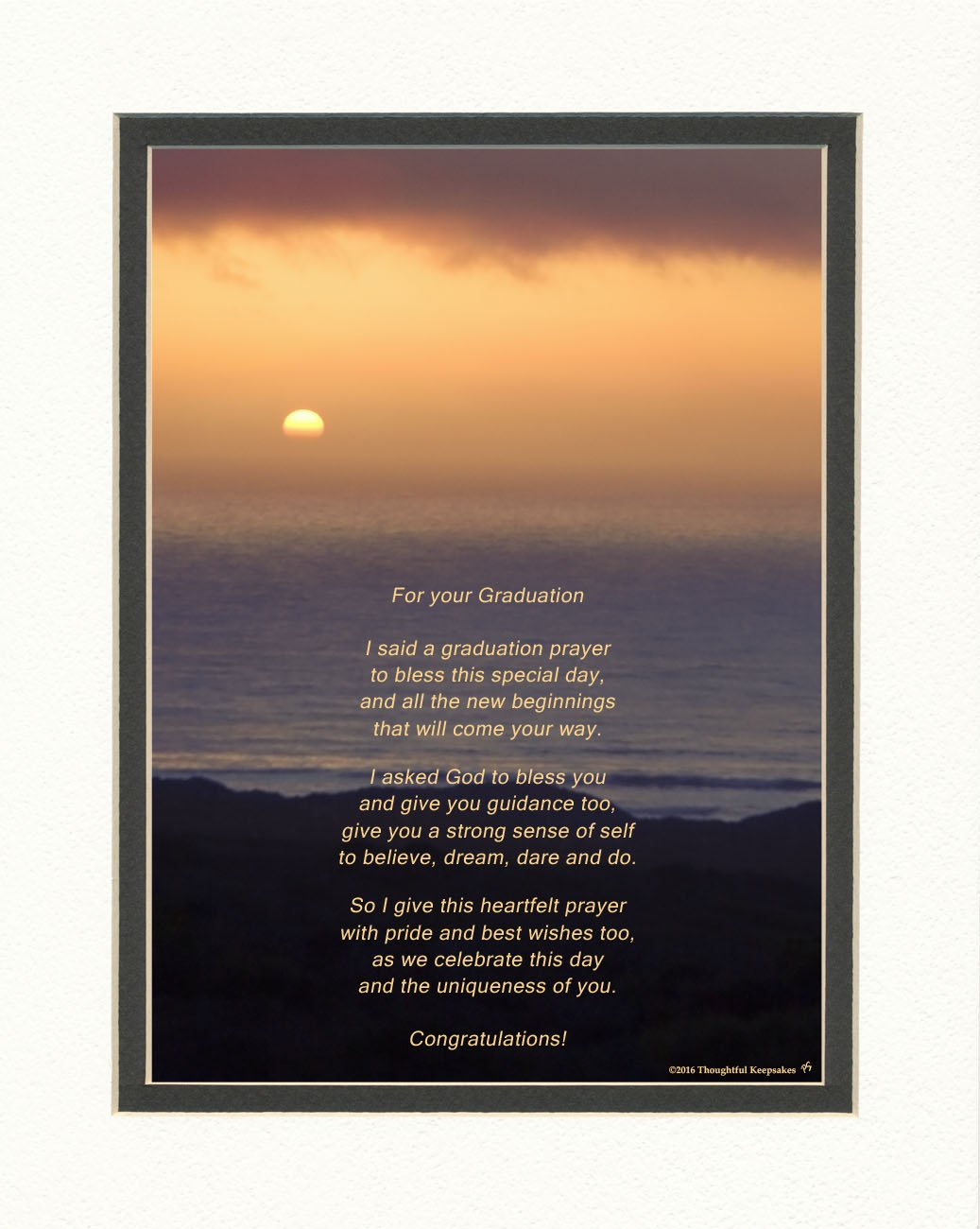 Graduation Gift with ''Graduation Prayer Poem'' Ocean Sunset Photo, 8x10 Double Matted. A Special Keepsake Gift for Graduate. Unique High School or College Graduation Gifts.