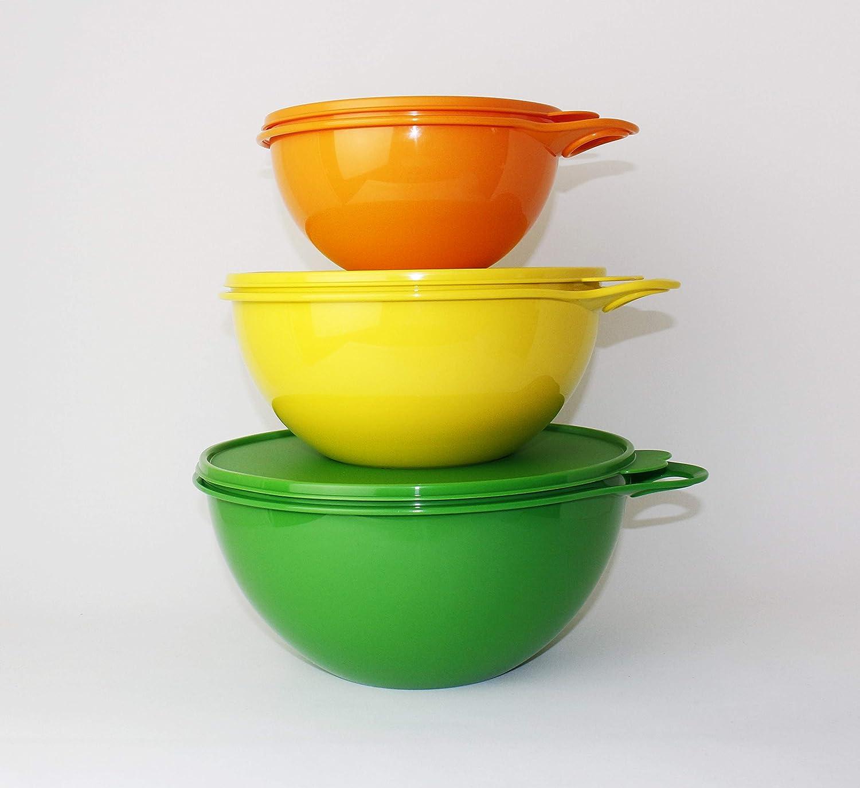 Tupperware Maximilian Sch/üssel 4,5L Gr/ün 2,75L Gelb 1,4L Orange R/ührsch/üssel