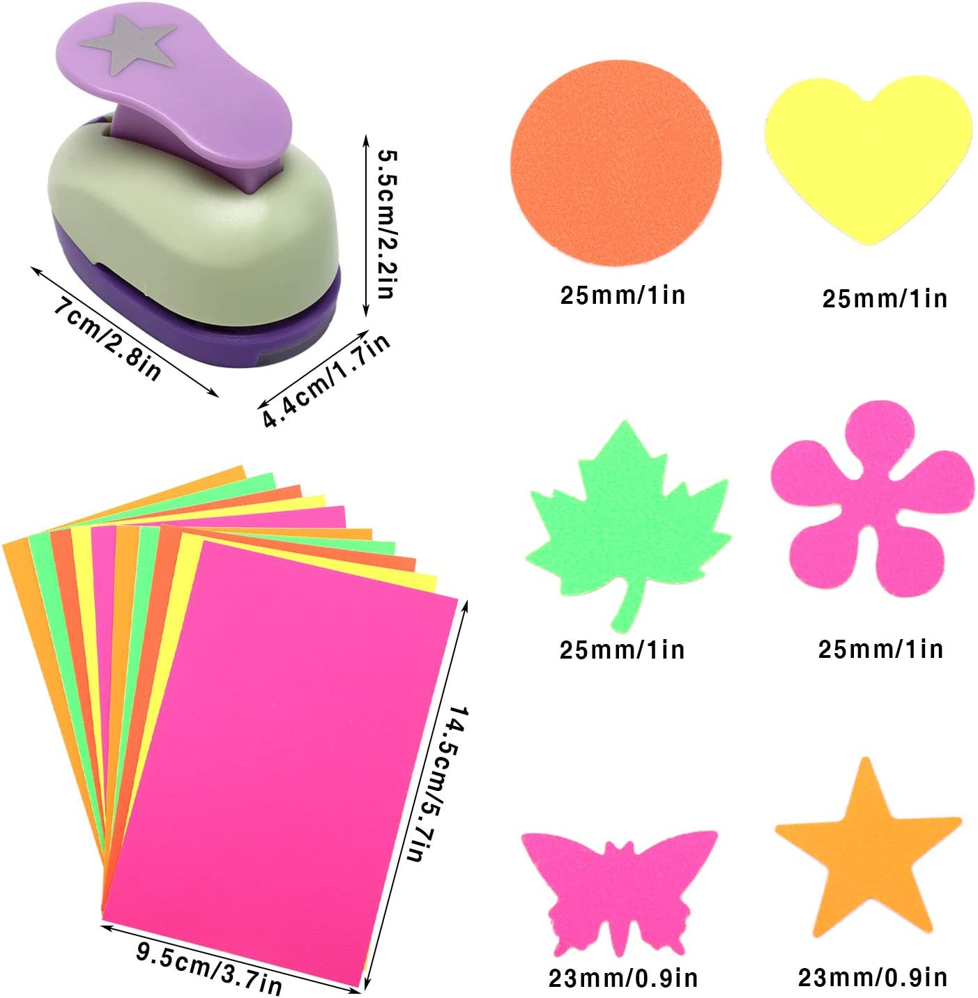 6 Shape Punches Circle Heart Buytra Scrapbook Paper Punchers 1 Inch Hole Punches Butterfly for Kids Card Making DIY Crafts Star 10 PCS Colored Adhesive Sticker Paper Cards Maple Leaf Flower