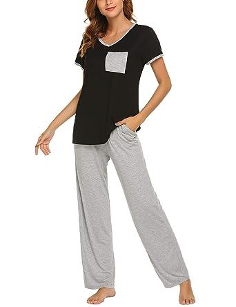 6682d84d3 Ekouaer Women s Pajamas Short Sleeves V-Neck Top with Pants Pajama Set  Sleepwear Black S