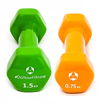 Set Ahorro de mancuernas vinilo »Hexagon« / Las pesas / Set: 2x naranja y verde (0,75kg / 1,5kg): Amazon.es: Deportes y aire libre