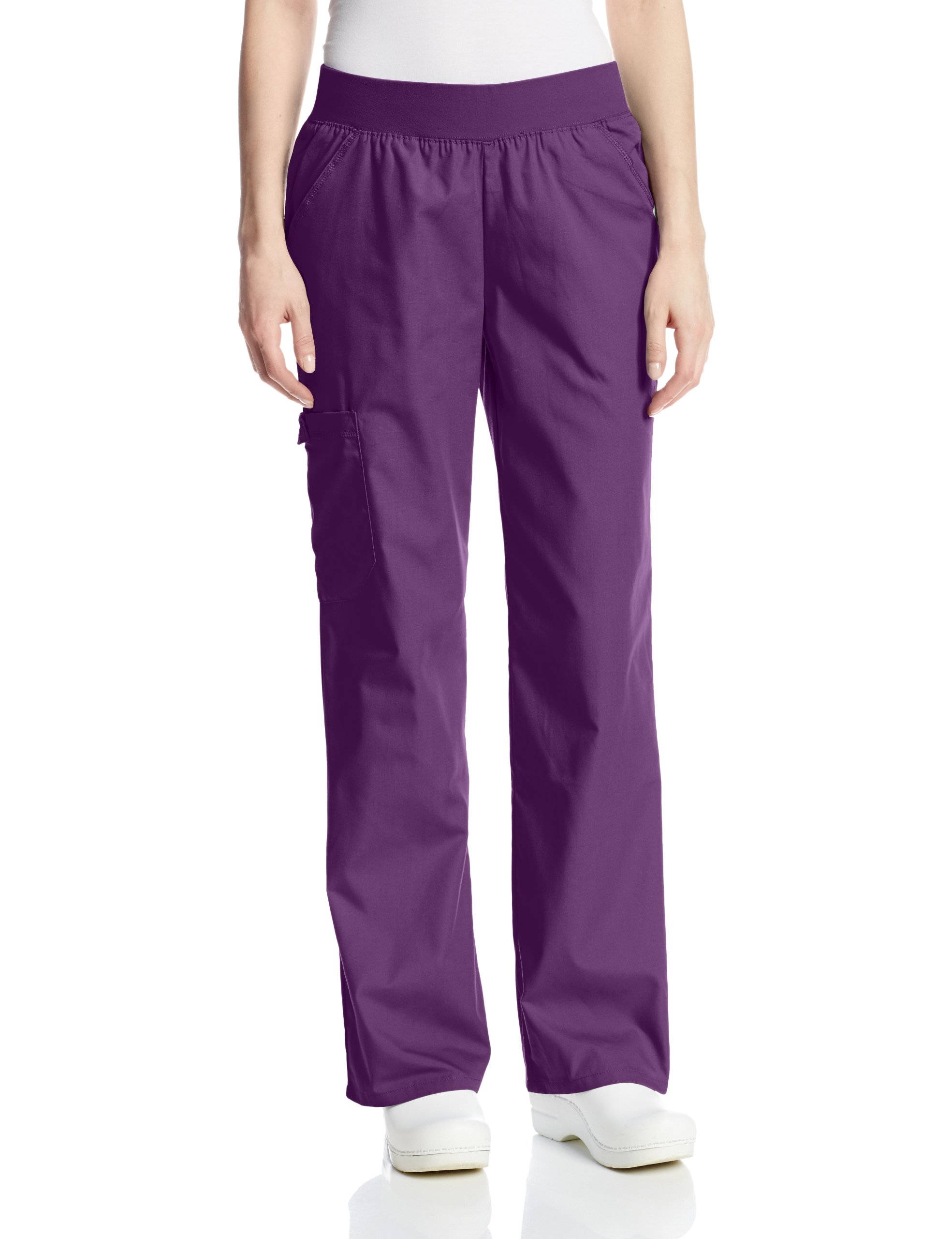Cherokee Women's Scrubs Flexibles Mid-Rise Knit Waist Pull-On Missy Fit Pant, Eggplant, X-Large