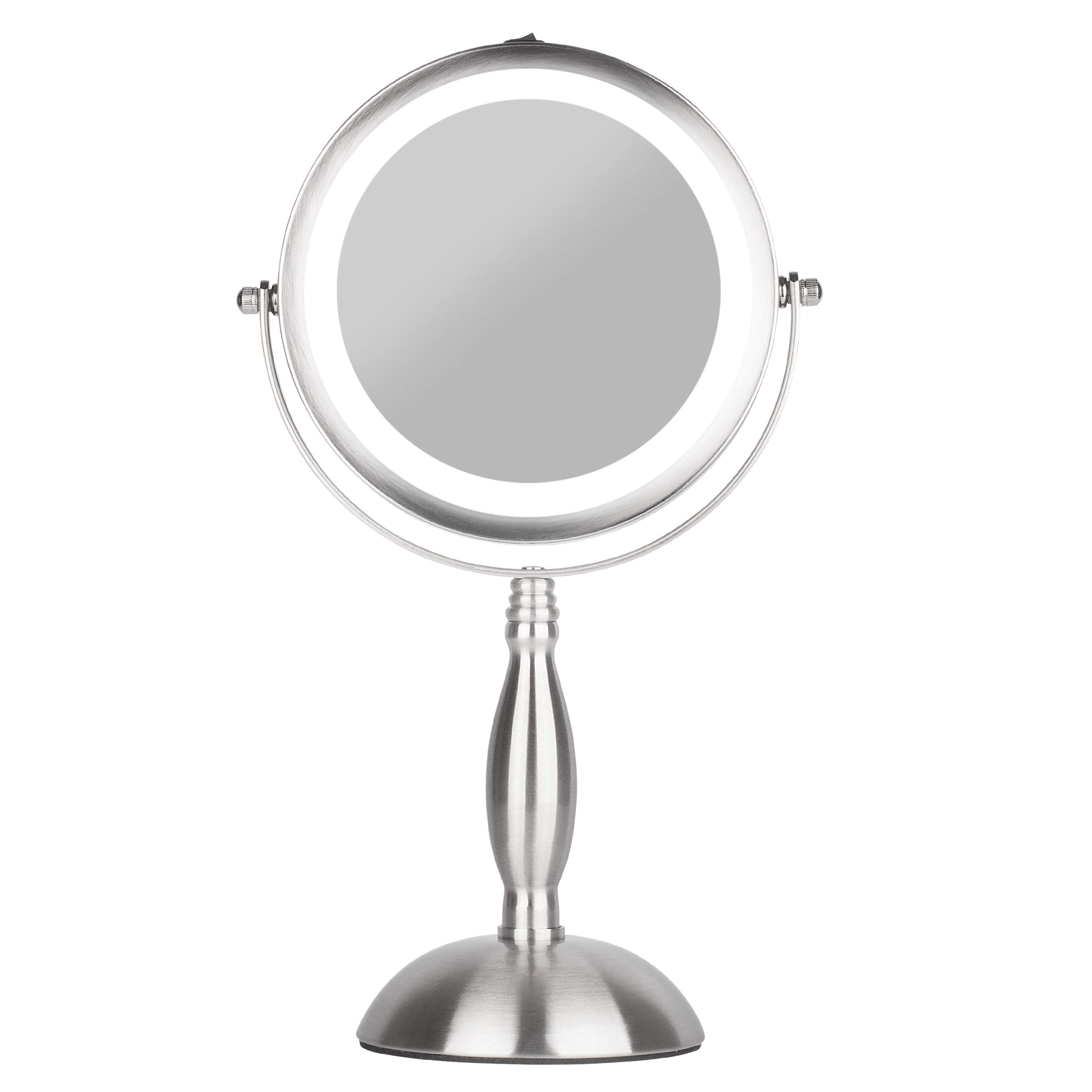 S.H.E. Makeup Mirror - Lighted Vanity Mirror - Natural White 18 Led Bulbs - Free-standing cosmetic mirror, Cordless, Battery-powered - Double sided x1/x7 magnification - 360 rotation round face mirror