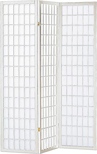 HONGVILLE Shoji Paper Screen Wood Panel Privacy Room Divider, White, 3 Panel