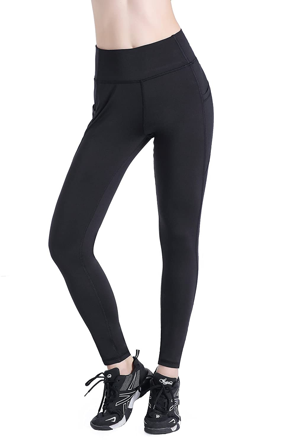 Leovqn High Waist Gym Leggings for Women with Side Pockets Stretch Yoga Pants for Workout Running Sports