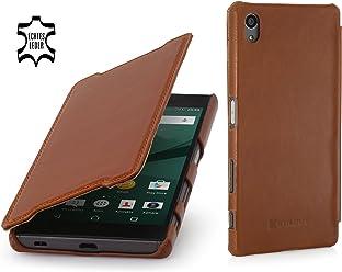 StilGut Book Type Case Senza Clip, Custodia in Vera Pelle a Libro per Sony Xperia Z5 & Sony Xperia Z5 Dual, Cognac