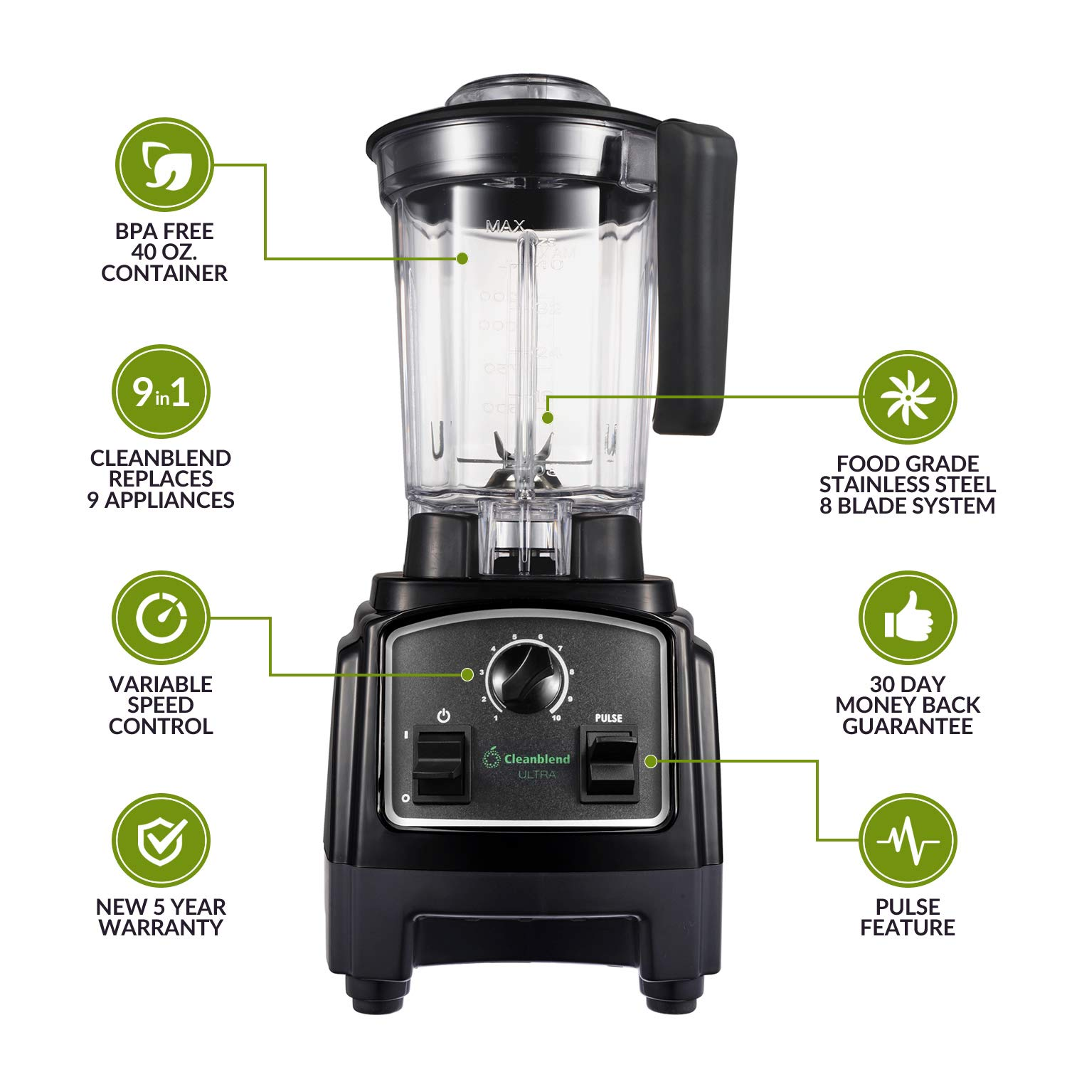 Cleanblend ULTRA A Low Profile Countertop Blender With A BPA Free 40 oz. Container, A Stainless Steel 8 Blade System and stainless steel drivetrain. Great for smoothies, nut butters and mixing