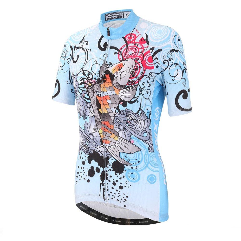 DuShow Women Cycling Jersey Short Sleeve Cycling Shirt Bicycle Bike Top Fish(XL) by DuShow