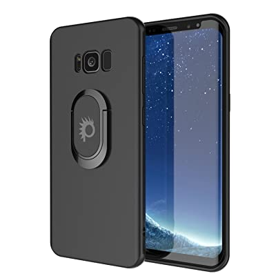 Galaxy S8 Case, Punkcase Magnetix Protective TPU Cover W/Kickstand, Ring Grip Holder & Metal Plate for Magnetic Car Phone Mount Plus PunkShield Screen Protector for Samsung S8 Edge [Black]