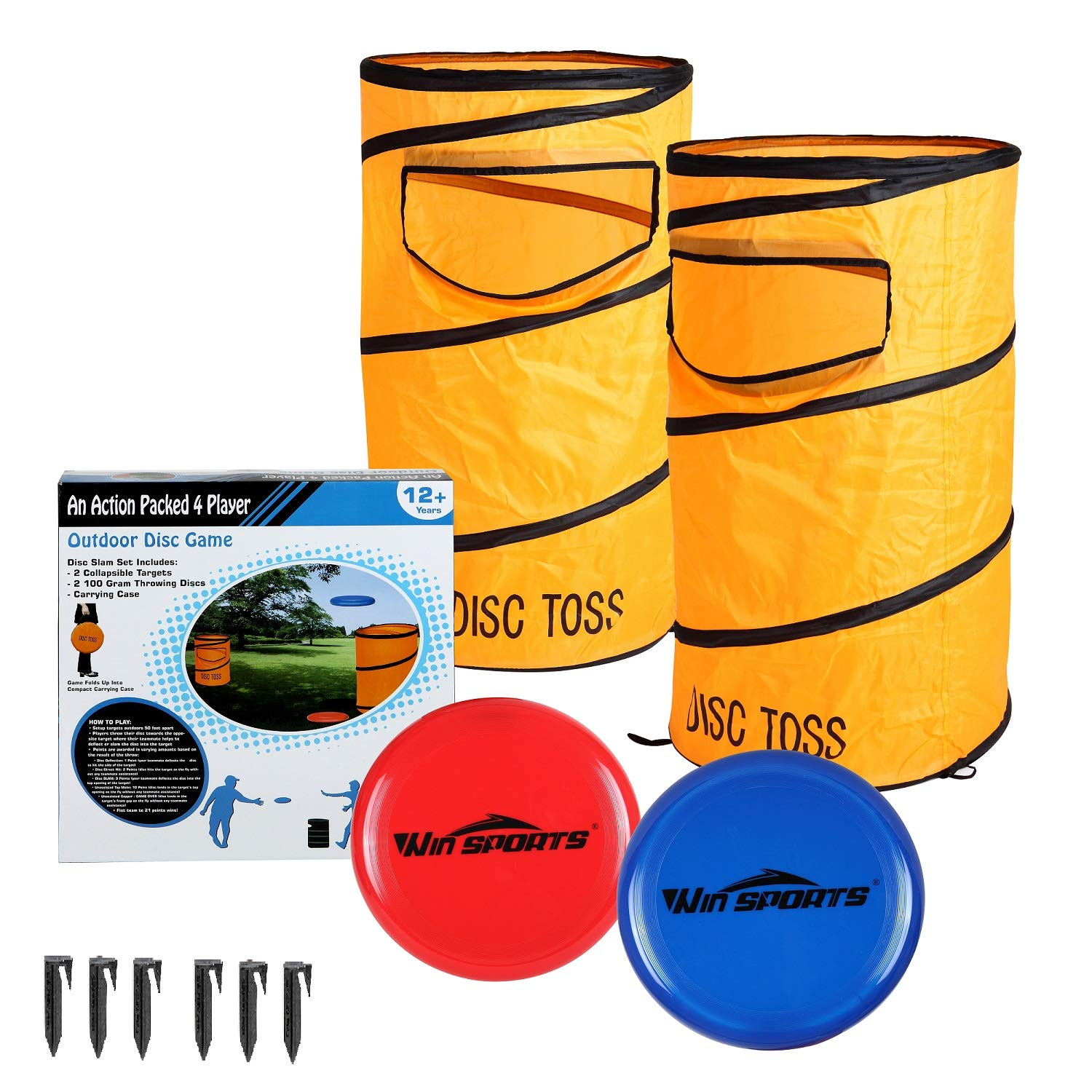 Folding Disc Slamming Game Set丨Flying Disc Toss Dunk Game Set丨Includes 2 Disc Targets with bean bag,2 Flying Discs,6 Ground Stakes,Carrying Case - Great For Backyard,Tailgating(16.1''x30.3'') by Win SPORTS