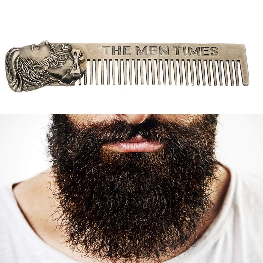 Beard Comb - Delaman - Cepillo Peine para Cabello Bigote Antiestático, Acero Inoxidable Delawn, Peine para Bigote