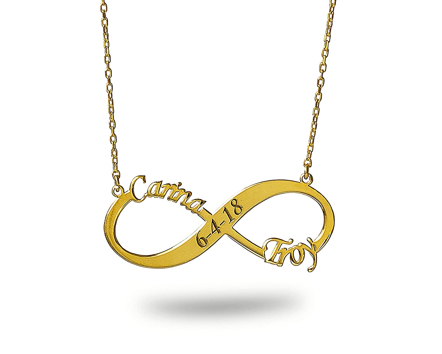 Amazon com: Handmade Infinity Name Necklace, Date Necklace