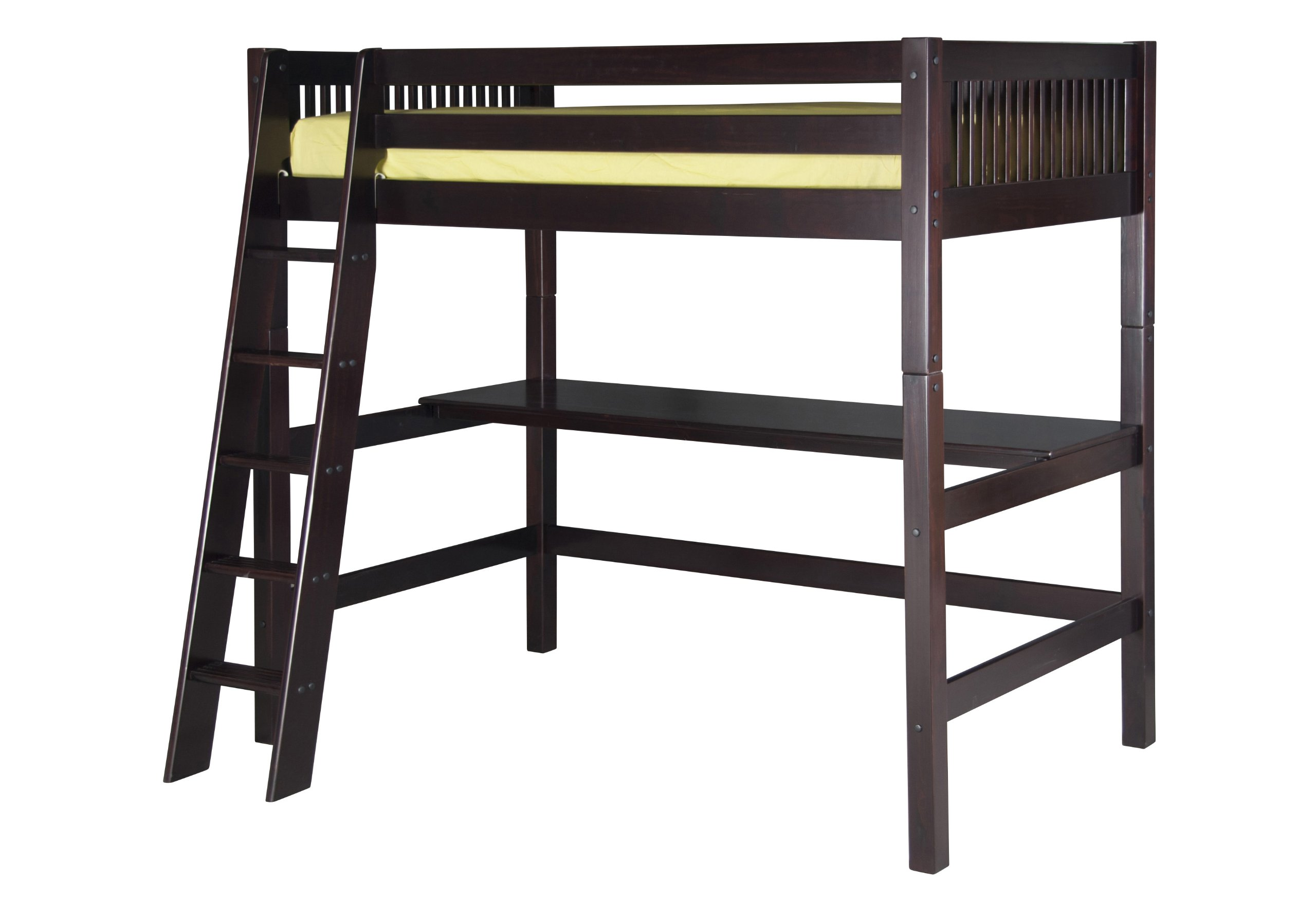 Camaflexi High Loft Bed with Desk and Mission Headboard, Cappuccino Finish