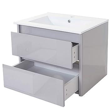 Mendler Waschbecken + Unterschrank HWC-B19, Waschbecken Waschtisch  Badezimmer, Hochglanz 50x60cm ~ grau