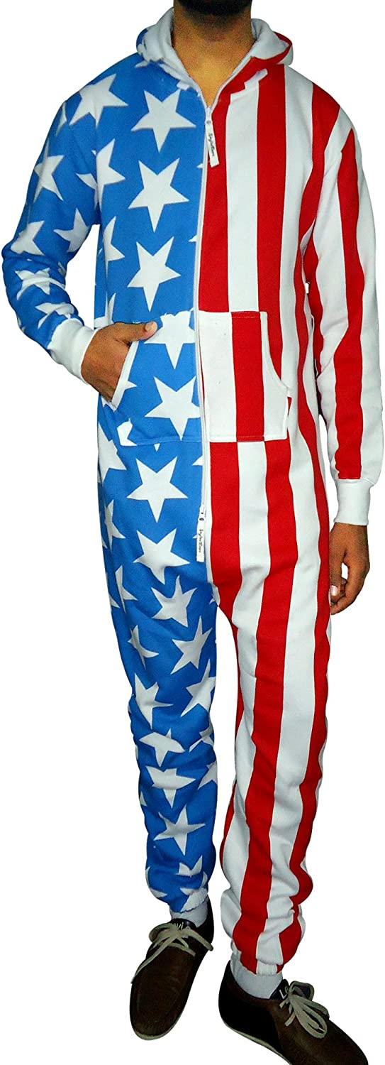 SKYLINEWEARS Men's Fashion Onesie Hooded Jumpsuit One Piece Non Footed Pajamas