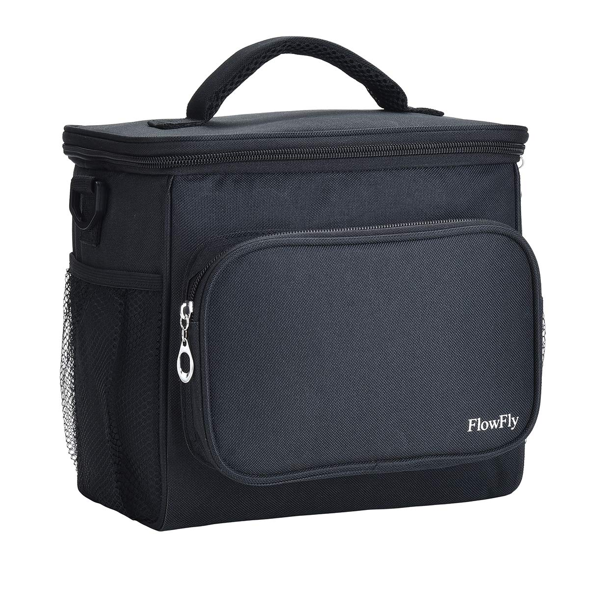 FlowFly Insulated Lunch Bag Adult Thermal Lunch Box Large Cooler Tote Bag for Men Women with Adjustable Strap Front and Dual Large Mesh Side Pockets(Black)