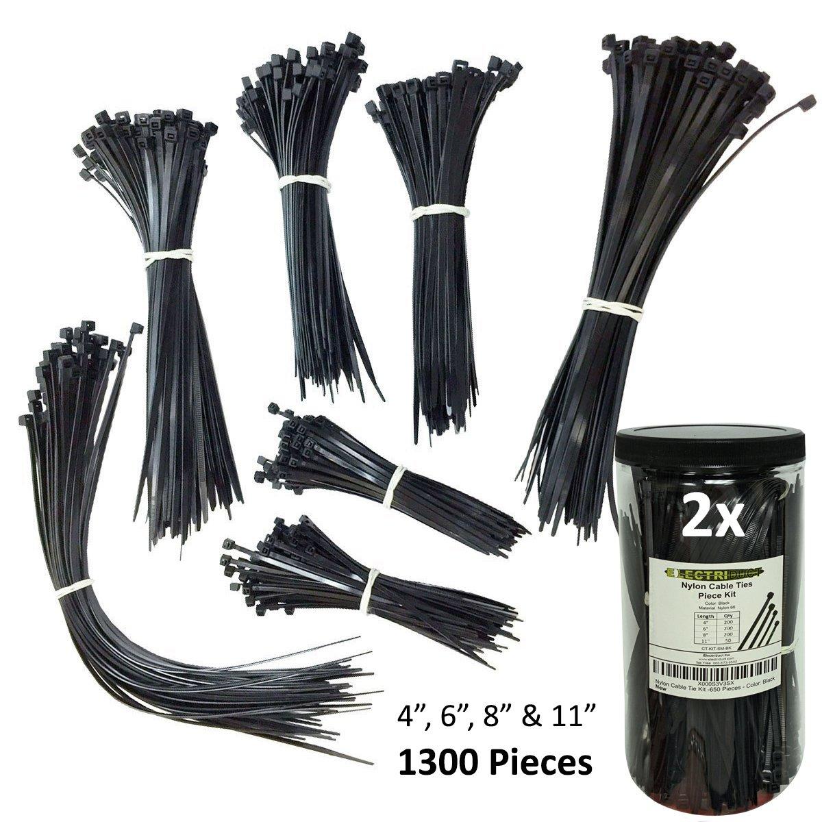 Nylon Cable Tie Kit - 650 Pieces - Multi Color (Blue, Red, Green, Yellow, Fuchsia, Orange, Gray, Purple) - Assorted Lengths 4', 6', 8', 11' Purple) - Assorted Lengths 4 6 8 11 Electriduct