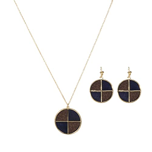Vintage Style Jewelry, Retro Jewelry Lova Jewelry 70s Retro Color Block Wood Disk Gold Tone Necklace Earrings - Set of Two $10.99 AT vintagedancer.com