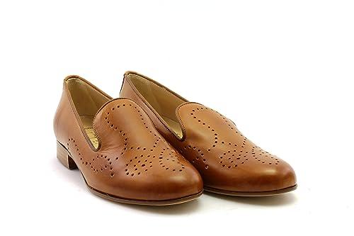LUCA GROSSI Mocasines de Piel Lisa Para Mujer Marrón Cuoio, Color Marrón, Talla 37.5 EU: Amazon.es: Zapatos y complementos