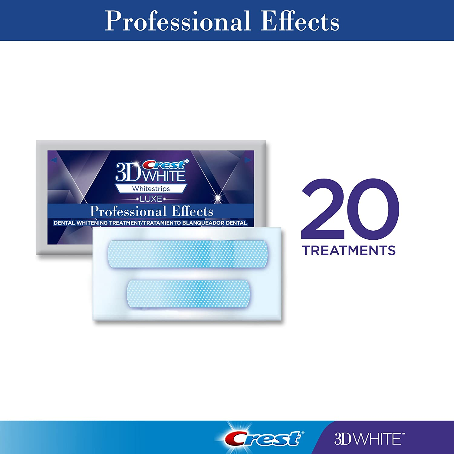 Whitening treatment as is indicated by comparison to the whitening - Amazon Com Crest 3d White Professional Effects Whitestrips Dental Teeth Whitening Strips Kit 20 Treatments Lasts 12 Months Beyond Beauty
