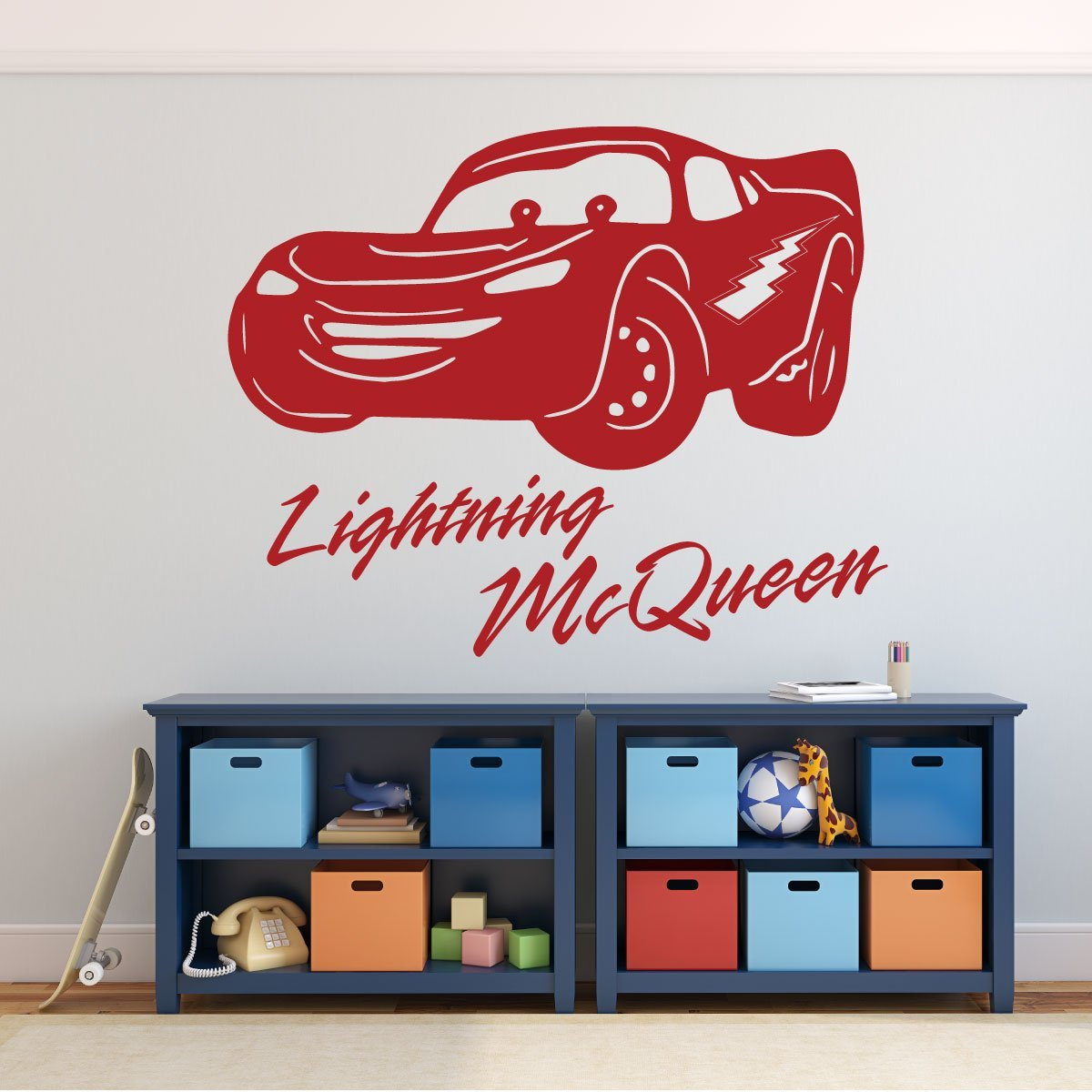 Disney Pixar Cars - Lightning McQueen Personalized Wall Decal - Removable Vinyl Wall Decoration for Boy's Room, Playroom, Gameroom or Dr. Office