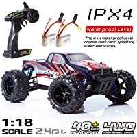 RC Car, Remote Control Car, Terrain RC Cars, Electric Remote Control Off Road Monster Truck, 1:18 Scale 2.4Ghz Radio 4WD Fast 30+ MPH RC Car, with 2 Rechargeable Batteries