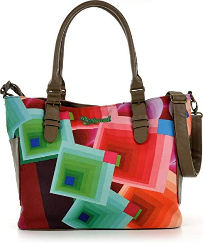 fd99fab1c DESIGUAL extra-large two in one shopper bag. Multi-coloured canvas and faux  leather. 40x27x13cm.: Amazon.co.uk: Shoes & Bags