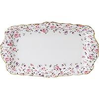 Royal Albert ROSCON26137 Rose Confetti Vintage Formal Rectangular Serving Tray, White