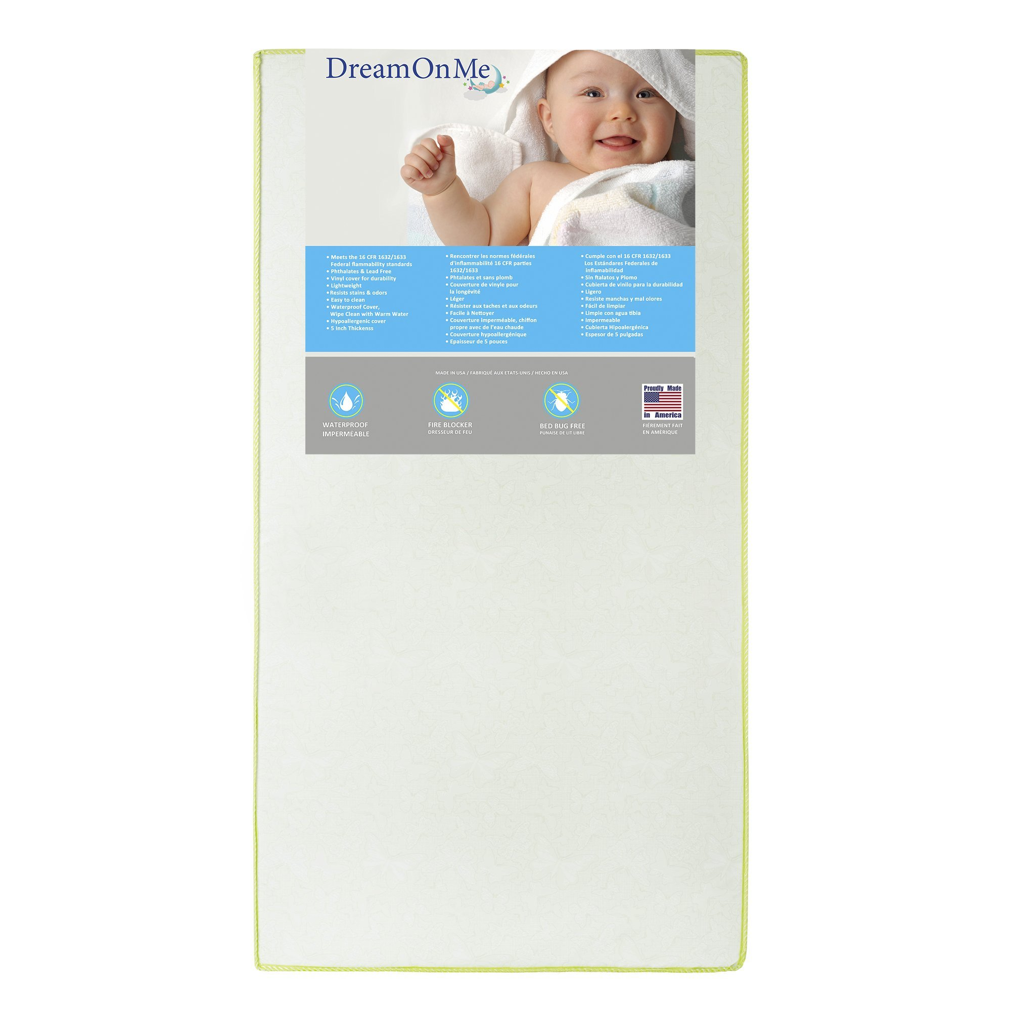 Dream On Me 2 in 1 Foam Core Crib and Toddler Bed Mattress, Little Butterflies, 6''