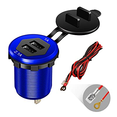 Dual USB Charger Socket Power Outlet 1A & 2.1A(3.1A) Aluminum Waterproof Car USB Charger with Wire Fuse for Car Boat Marine RV Mobile DIY Kit (1.8M Wire) Blue: Electronics