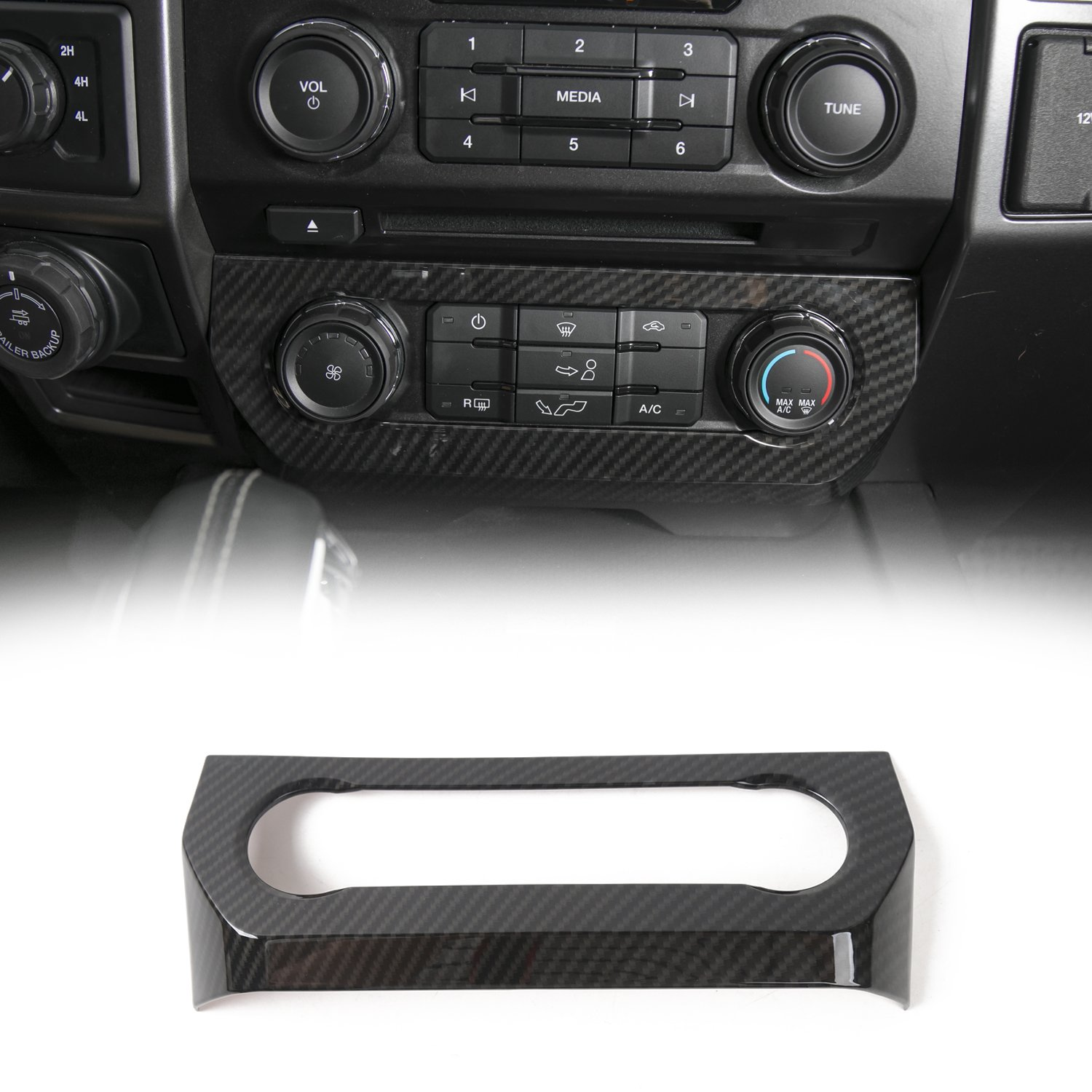 Voodonala Black Carbon Fiber Texture Central Air Condition Control Panel Covers For Ford F150 2015 2016 2017 …