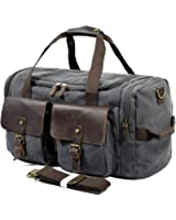 SUVOM Leather Overnight Duffle Bag Canvas Travel Tote Duffel Weekend Bag Luggage