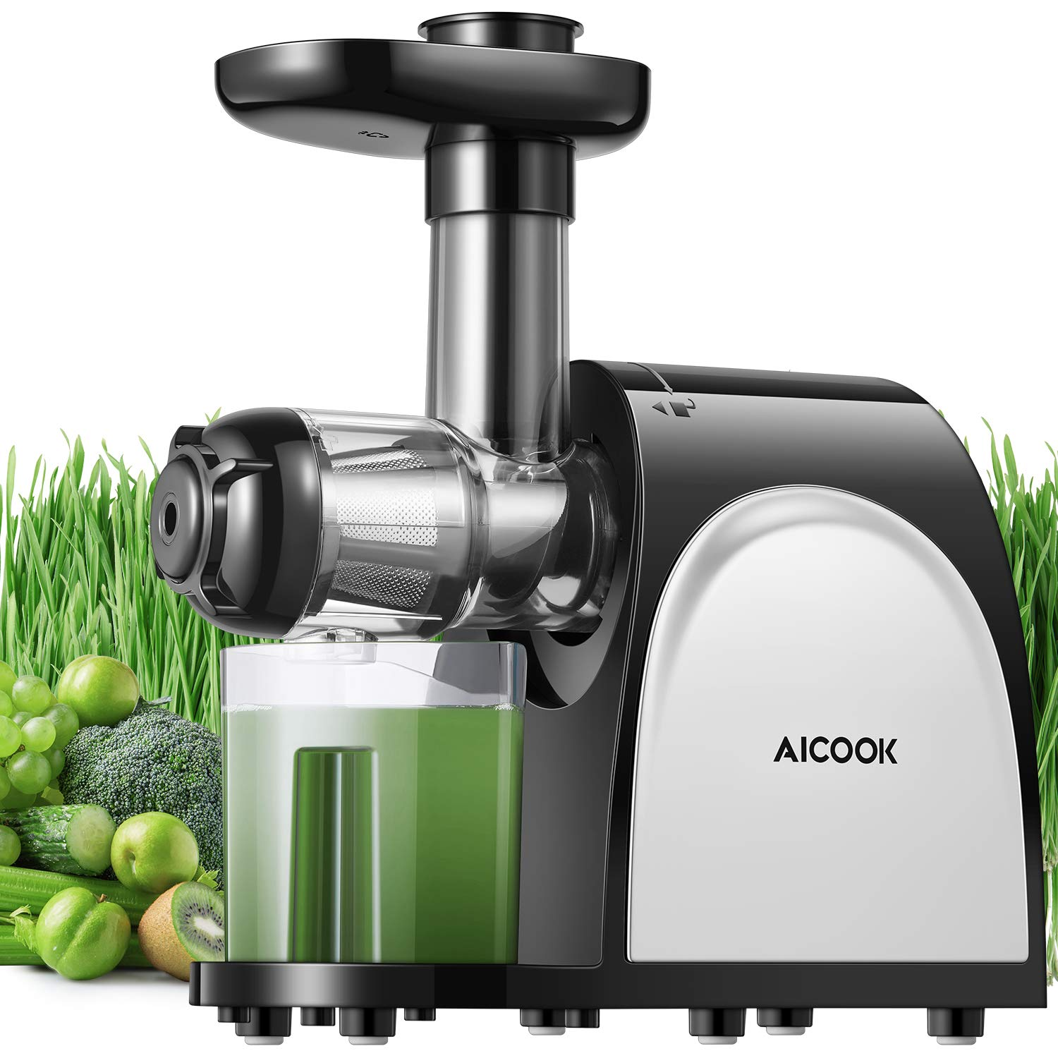 Juicer, Aicook Slow Masticating Juicer, Cold Press Juicer Machine Easy to Clean, Higher Juicer Yield and Drier Pulp…