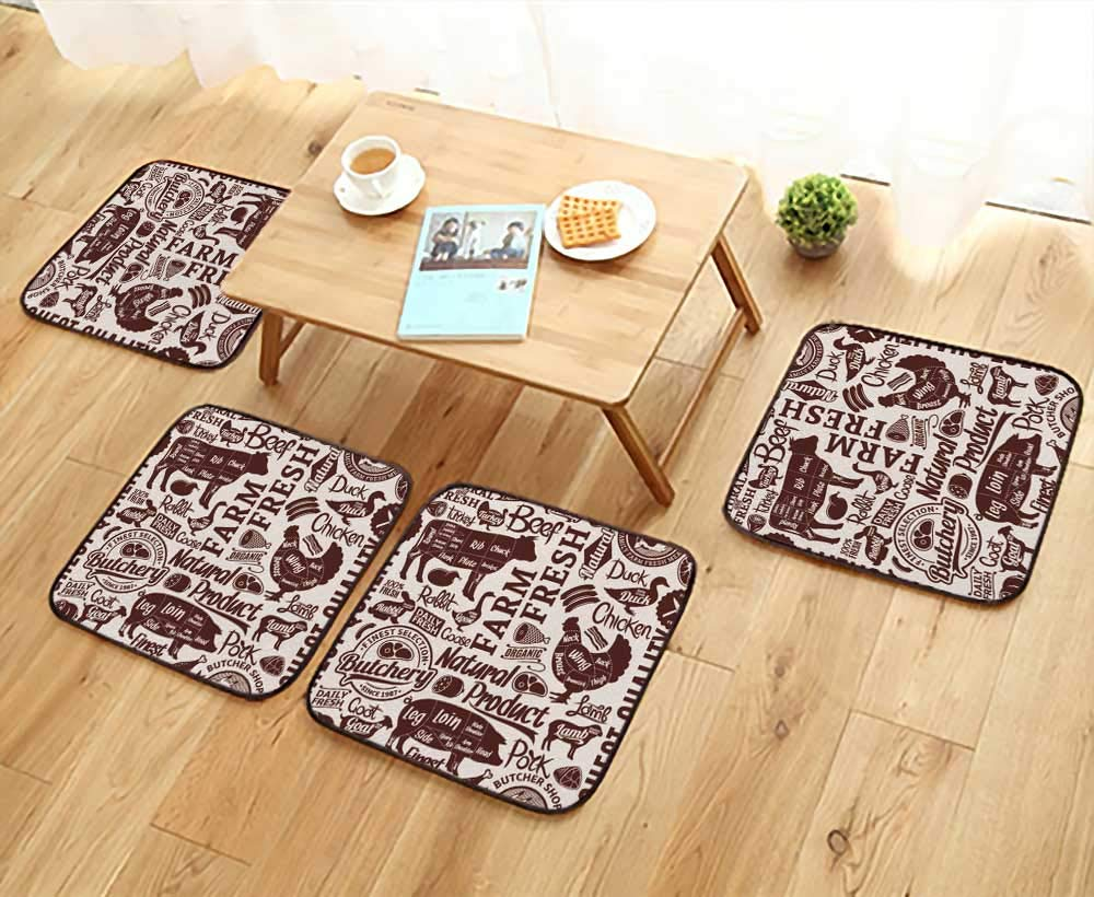 UHOO2018 Anti-Skid Chair Cushions Typographic Vector Butchery or Background Farm Animals Icons and Butcher Shop Health is Convenient W19.5 x L19.5/4PCS Set