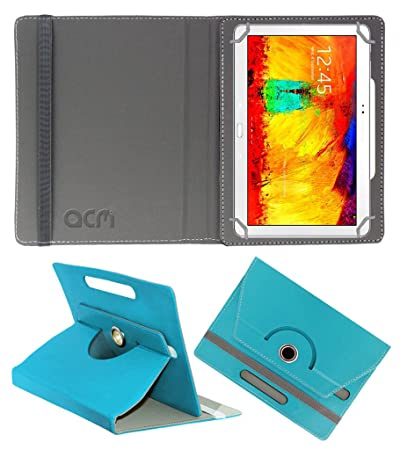 Acm Rotating 360 Leather Flip Case Compatible with Samsung Galaxy Note 10.1 P601 Tablet Cover Stand Greenish Blue