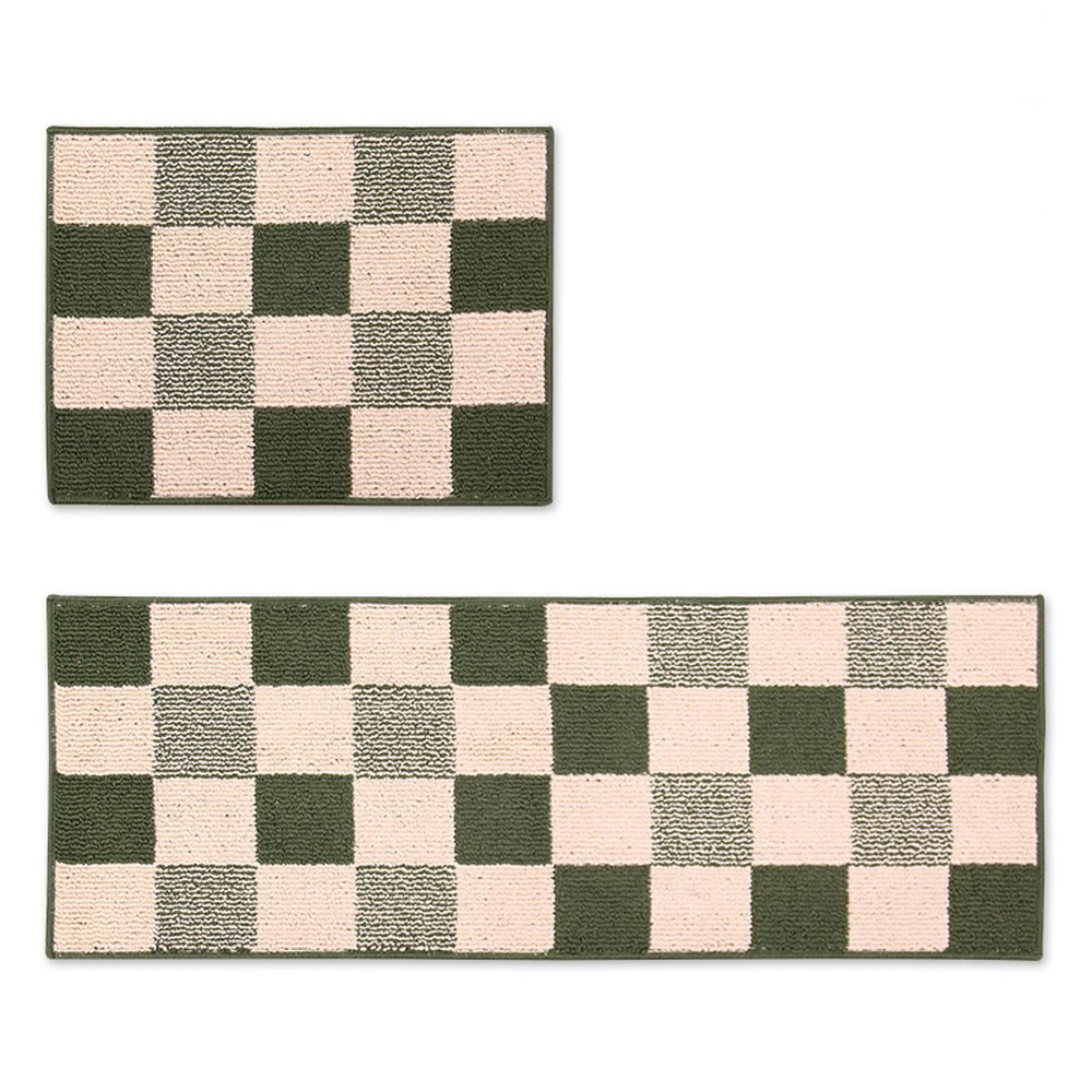Wolala Home™2 Piece Sets Rubber Backing Non-slip Kitchen Rug and Carpet Lattice Design Washable Bathroom Area Rugs Thin(1'5x2'0+1'5x4'0, Green)